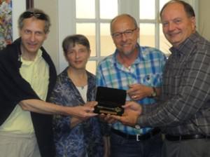 (L-R) Philippe Reymond, Jany Reymond, Bernard Leycuras, Mayor Lee Posey
